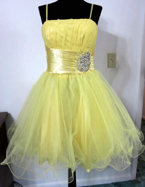 Yellow PROM DRESS 10 Full Skirt Beaded Cocktail Party Dance Chicas NWT