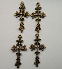 10pcs bronze plated cross charms pendant 42x21 mm
