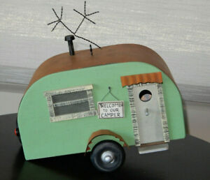 Handcrafted-Wood-Metal-Birdhouse-Old-Fashioned-Camper-8-034-Tall-x-12-034-Long