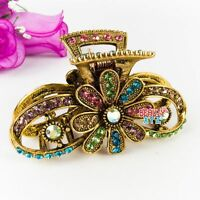 Vintage Multi-color Top Quality Metal With Flowers Crystals Hair Claw Clips