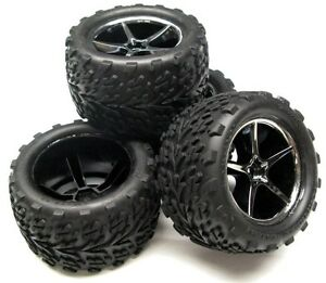 1-16-E-revo-Preglued-TIRES-amp-WHEELS-Talon-Gemini-Traxxas-Factory-Built-71076-3