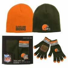 ($35) Cleveland Browns 2-PIECE nfl Knit REVERSIBLE CAP-GLOVES Jersey Set YOUTH