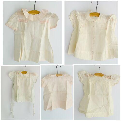 Lot 5 Vintage 1940s-50s Baby Dresses Pinafore Orga