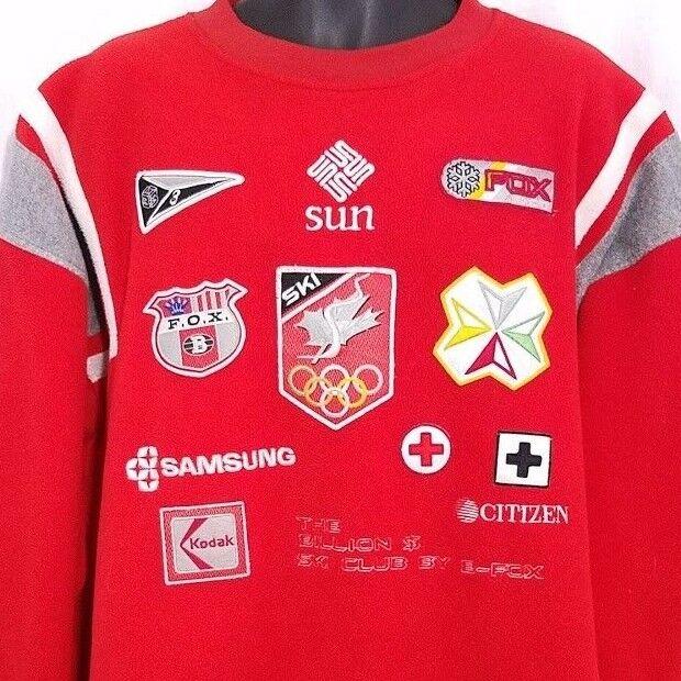 Ski Club Fleece Sweatshirt Vintage 90s B-FOX Olympics Sun Microsystems Größe 2XL