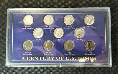 Dime Set in Gorgeous Display Barber Mercury /& Roosevelt 90/% Silver Historic U.S