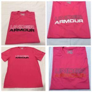 Under-Armour-Wordmark-Men-039-s-Florescent-Salmon-Short-Sleeve-Gym-T-Shirt