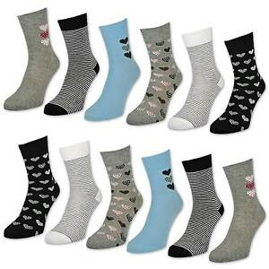 6-or-12-Pair-Women-039-s-Socks-Cotton-Hearts-amp-Rings-Women-039-s-Socks-with-Design