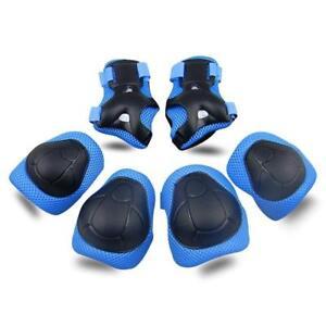 Kids Knee Pads 6pc Protective Gear Knee Elbow Pad Black Skateboard Rollerblades