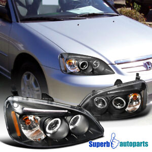 For-2001-2003-Honda-Civic-Projector-Headlights-Head-Lamps-Black-Replacement-Pair
