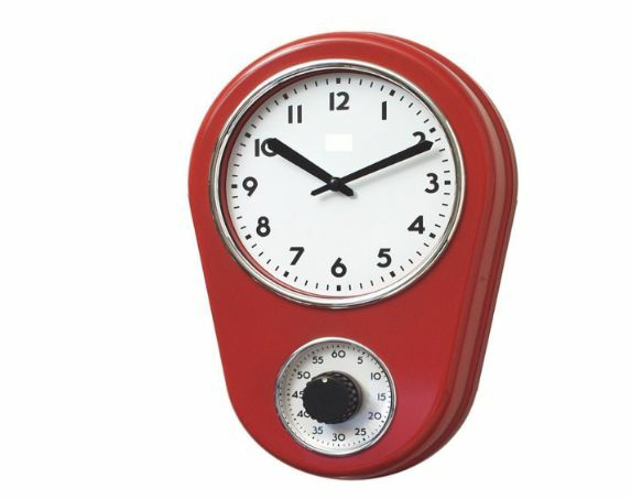 Retro Kitchen Timer Wall Clock Red By Lily S Home Ebay
