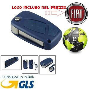 GUSCIO-COVER-CHIAVE-FIAT-3-TASTI-TELECOMANDO-Punto-Panda-Stilo-Bravo-BLU-LOGO