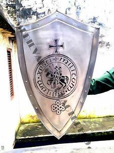 Medieval Shield Steel Knight Shield Handcrafted Battle Armor Templar Shield A33