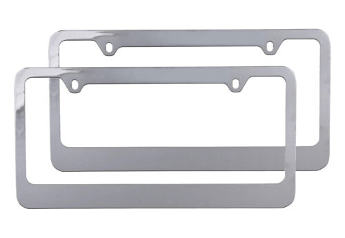 2 PC Durable Metal License Plate Frame Holder for Car Front /& Rear Chrome