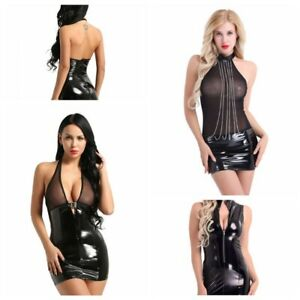 6300aca1a4 Sexy Women Wet-Look Leather Bodycon Dress Deep-V Slim Party Clubwear ...