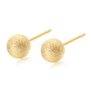 Girls Childrens Boys Safety Kids Baby Round Ball Stud Earrings 18k