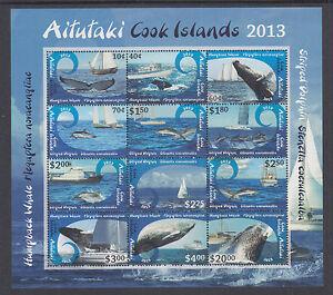 Aitutaki Sc 612 MNH. 2013 Whales & Dolphins, Souvenir Sheet of 12, VF