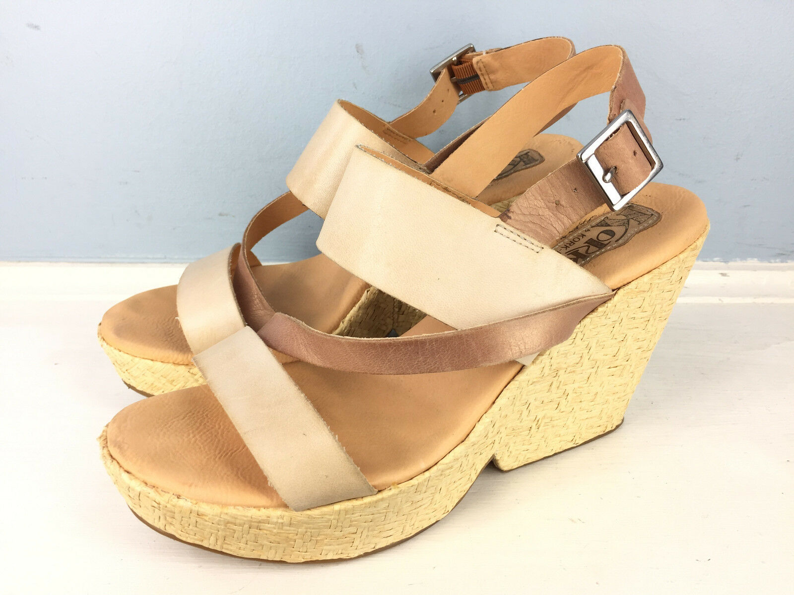 KORKS by Kork Ease 10   42 pink gold Beige Leather Wedge Heel Sandals EUC CUTE