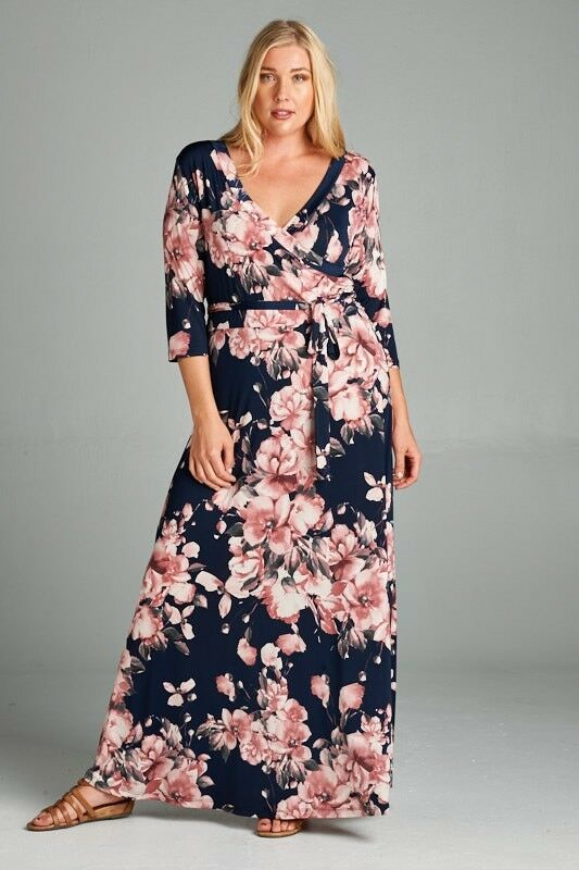 BNWT Vintage Blossom Womens Wrap Maxi Dress Size XL 14, XXXL 18 CURVED BY NATURE