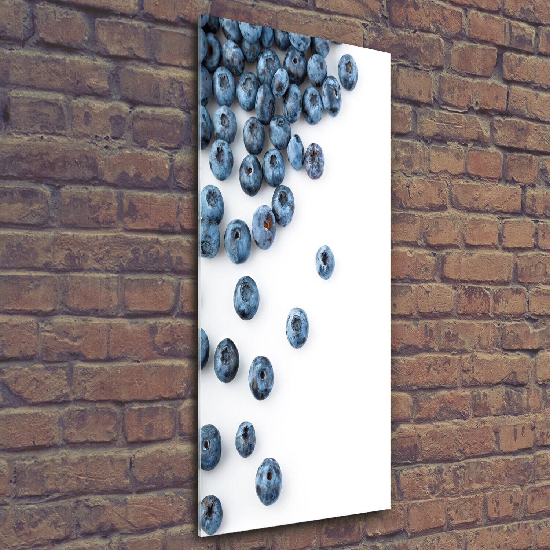 Wand-Bild Kunstdruck aus Hart-Glas Hochformat 50x125 Blaubeeren