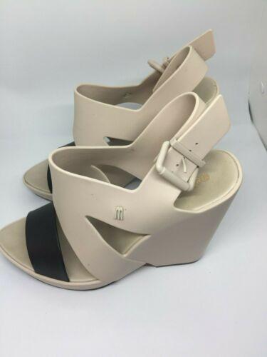 Melissa Nude Black Platform Heels Sandals Rubber S
