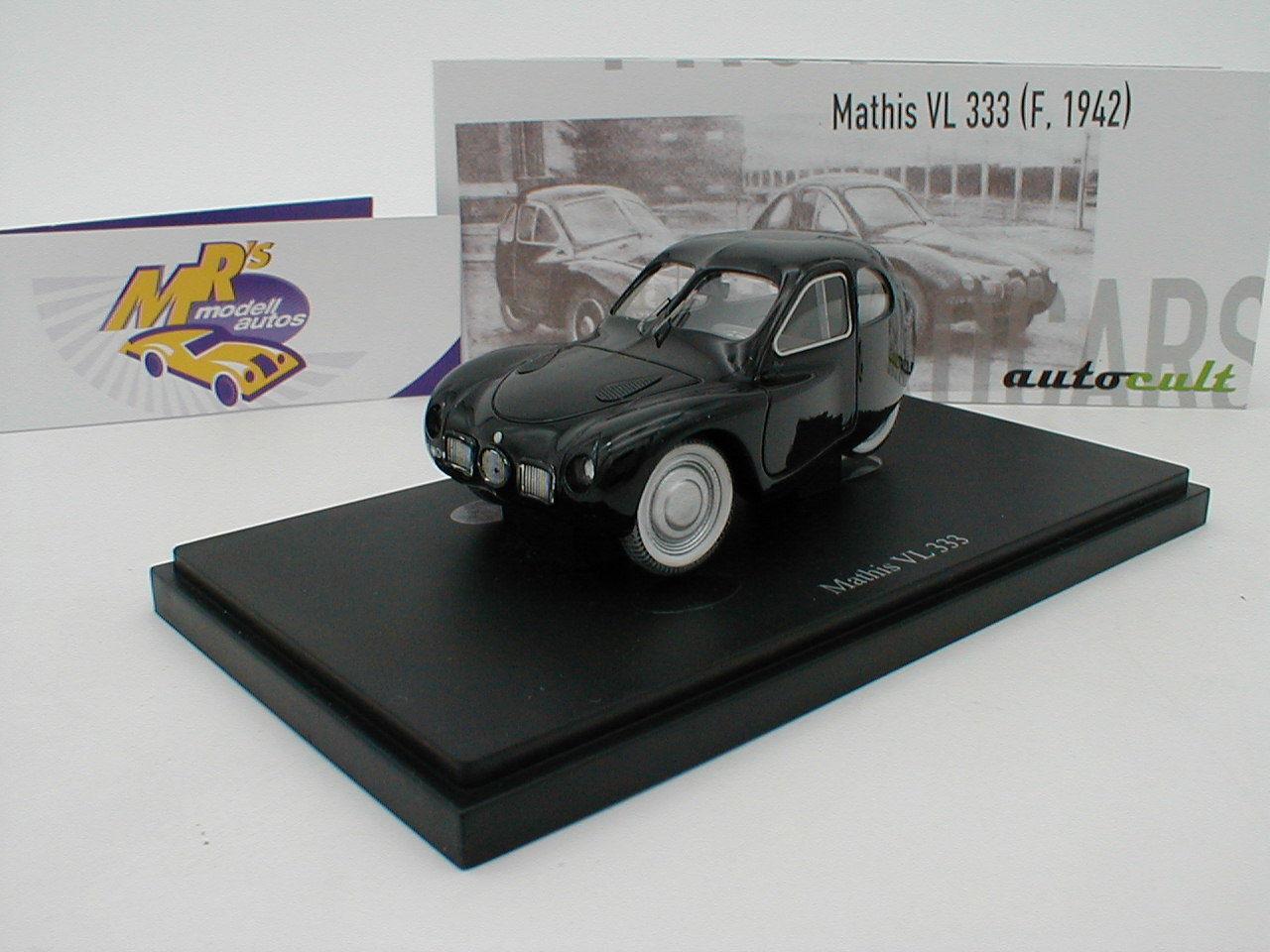 Autocult 03015-MATHIS VL 333 petites voitures année de fabrication 1942 in  Noir  1 43 NEUF