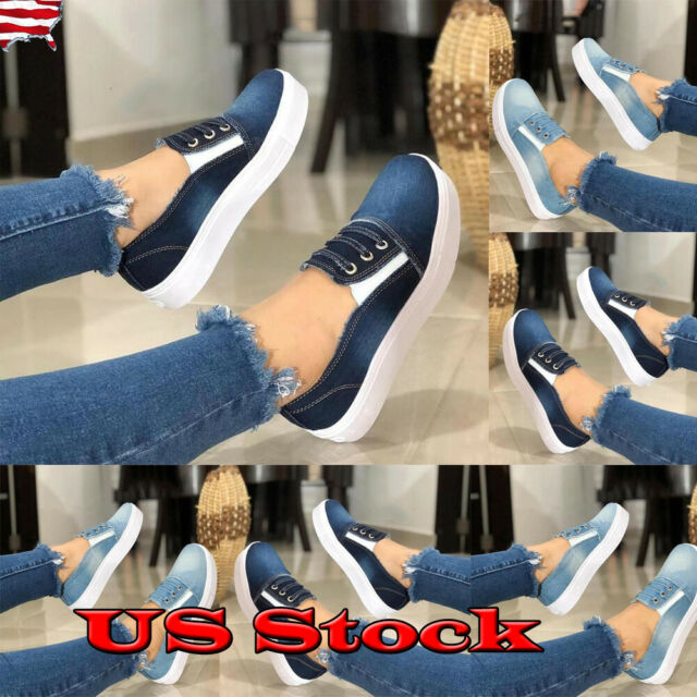 Fashion Women's Slip On Loafers Sneakers Casual Flat Bottom Round Toe Shoes Size