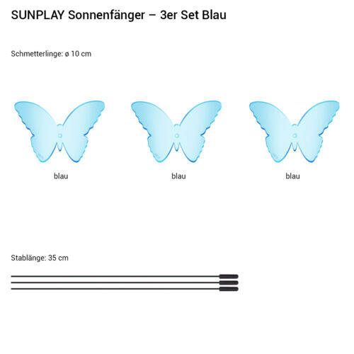 Sunplay Capture ø10cm Sets Suncatcher Jardin Connecteur Papillons