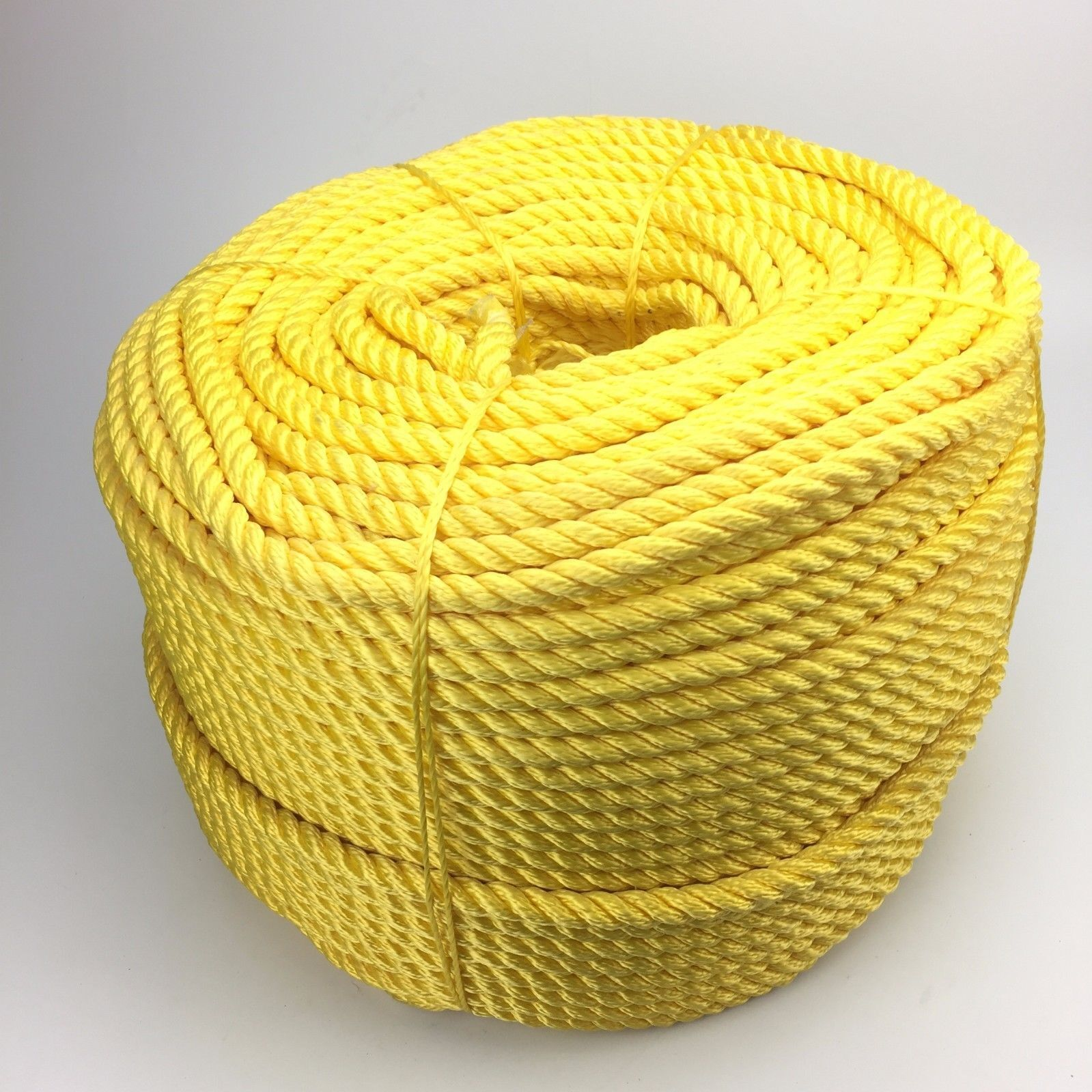 14mm Yellow 3 Strand Multifilament x 50 Metres, Floating Rope Softline Rope