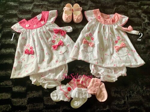 BABY GIRLS BEAUTIFUL DRESS KNICKERS HEADBAND SET 9//12-12//18-18//23 MONTHS NEW