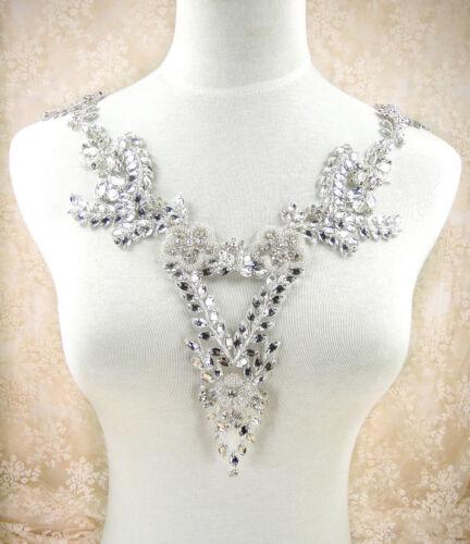 Gorgeous Rhinestone Bridal Neckline Diamante Motif Evening Women Dress Applique