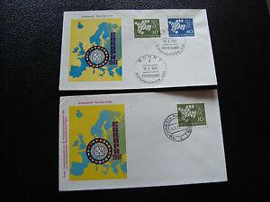 Germany-Rfa-2-Envelopes-1er-Day-1961-1962-cy59-Germany