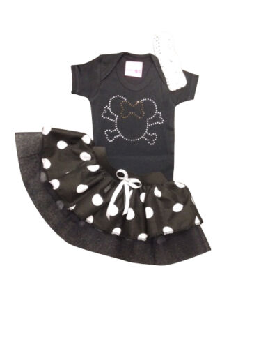 Neon Tutu Black White Minnie Mouse Sparkle Baby Grow Skirt Set Fancy Dress Girls