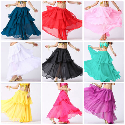 Women Lady Hot Spiral Skirt 3 Layer Jupes Belly Dance Costume S~3XL25 Couleur
