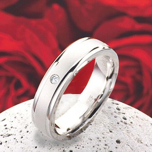 Verlobungsring Antragsring Silberring Damenring echtem Diamant Ringgravur D691