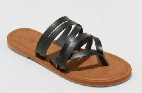 NEW Women/'s Maritza Multi Strap Toe Slide Sandal Universal Thread  Black Sz 6