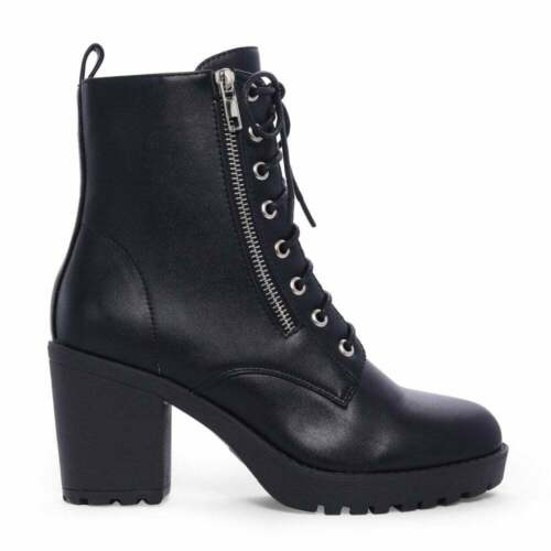 BLACK LACE UPS BLOCK HIGH HEELED MILITARY HEELS ANKLE BOOTS SHOES SIZE 3 4 5 6 7