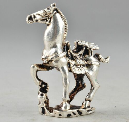 Amulet Tibet Silver Chinese Old Collectable Handwork Carving Horse Statue Decor