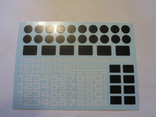 Decal sheet with White Numbers 1//64 scale AFX Tyco Lifelike Autoworld