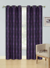 2 GROMMET PRINTED PANEL 2 TONE FOAM LINED BLACKOUT WINDOW CURTAIN KOBE BLACK 84""