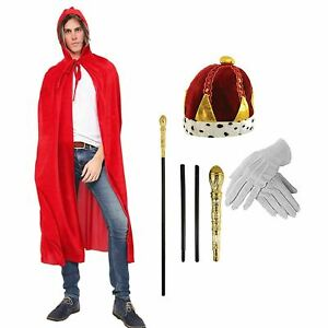 Adults-King-Fancy-Dress-Costume-Accessory-Kit-Velvet-Cape-Hat-Gloves-Stick-Set