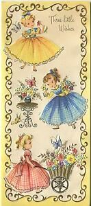 VINTAGE-CUTE-GIRLS-GINGHAM-DRESSES-GARDEN-FLOWERS-1-CHRISTMAS-TOY-SHOP-ART-CARD