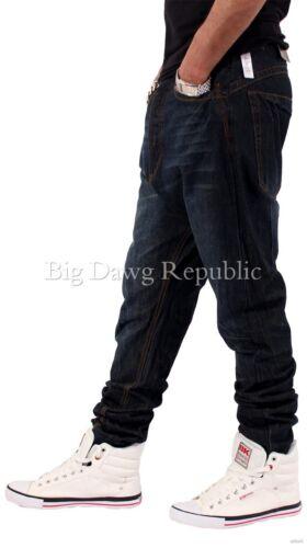Vintage Blue Time Money Is Men/'s Designer Drop Crotch Tapered Jeans Nappy Boy