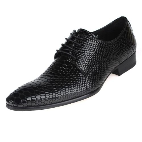 New Men/'s Real Leather Dress Formal shoes Crocodile Embossed Lace up W1818