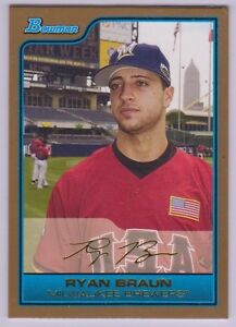 2006 Bowman Gold Ryan Braun Rookie Baseball Card Milwaukee