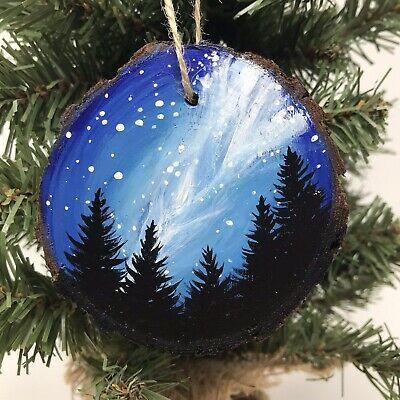 Starry Mountain Pyrography Ornament