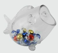 Glass Fish Shaped Candy Aquarium Bowl Jar, Valentine's Gift, H-7.5 L-11, 4 Pcs