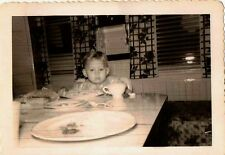 Old Vintage Antique Photograph Little Baby Sitting At Table Eating