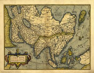 Asia in 1570 reproduction of an old map by abraham ortelius ebay image is loading asia in 1570 reproduction of an old map publicscrutiny Gallery