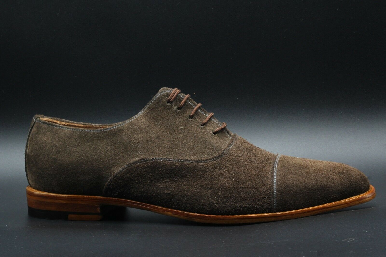 new style 01b61 4ffe8 Handmade Men s Genuine Brown Suede Lace Up Oxford Toe Cap Formal shoes