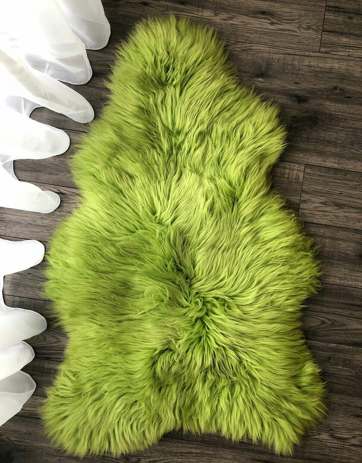Beautiful Genuine Luxury Sheepskin Rug Soft Wool Stylish Grün Apple 120cm 48